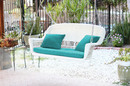 Jeco W00206S-B-FS032 White Resin Wicker Porch Swing With Turquoise Cushion