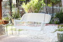 Jeco W00206S-B White Resin Wicker Porch Swing
