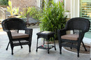 Jeco W00207_2-CES007 Black Wicker Chair And End Table Set With Brown Cushion