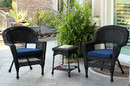 Jeco W00207_2-CES011 Black Wicker Chair And End Table Set With Midnight Blue Cushion