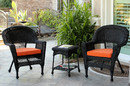 Jeco W00207_2-CES016 Black Wicker Chair And End Table Set With Orange Cushion
