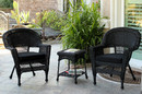 Jeco W00207_2-CES017 Black Wicker Chair And End Table Set With Black Cushion
