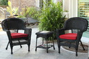 Jeco W00207_2-CES018 Black Wicker Chair And End Table Set With Brick Red Cushion