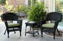 Jeco W00207_2-CES029 Black Wicker Chair And End Table Set With Sage Green Cushion