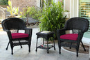 Jeco W00207_2-CES030 Black Wicker Chair And End Table Set With Red Cushion