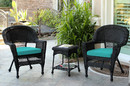 Jeco W00207_2-CES032 Black Wicker Chair And End Table Set With Turquoise Cushion