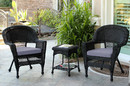 Jeco W00207_2-CES033 Black Wicker Chair And End Table Set With Steel Blue Cushion