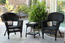 Jeco W00207_2-CES Black Wicker Chair And End Table Set Without Cushion