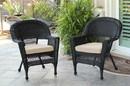 Jeco W00207_4-C-FS006-CS Black Wicker Chair With Tan Cushion - Set Of 4