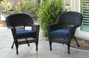 Jeco W00207_4-C-FS011-CS Black Wicker Chair With Midnight Blue Cushion - Set Of 4