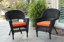 Jeco W00207_4-C-FS016-CS Black Wicker Chair With Orange Cushion - Set Of 4