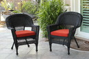 Jeco W00207_4-C-FS018-CS Black Wicker Chair With Brick Red Cushion - Set Of 4