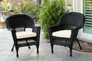 Jeco W00207-C_2-FS001-CS Black Wicker Chair With Ivory Cushion - Set Of 2