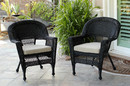 Jeco W00207-C_2-FS006-CS Black Wicker Chair With Tan Cushion - Set Of 2