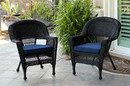 Jeco W00207-C_2-FS011-CS Black Wicker Chair With Midnight Blue Cushion - Set Of 2