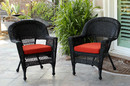 Jeco W00207-C_2-FS018-CS Black Wicker Chair With Brick Red Cushion