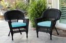 Jeco W00207-C_2-FS027-CS Black Wicker Chair With Sky Blue Cushion - Set Of 2