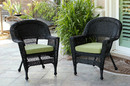 Jeco W00207-C_2-FS029-CS Black Wicker Chair With Sage Green Cushion - Set Of 2