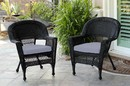 Jeco W00207-C_2-FS033-CS Black Wicker Chair With Steel Blue Cushion - Set Of 2