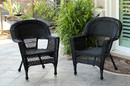 Jeco W00207-C_2 Black Wicker Chair - Set of 2