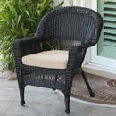 Jeco W00207-C-FS006 Black Wicker Chair with Tan  Cushion