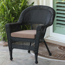 Jeco W00207-C-FS007 Black Wicker Chair with Brown Cushion