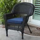 Jeco W00207-C-FS011 Black Wicker Chair with BlueCushion