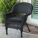 Jeco W00207-C-FS017 Black Wicker Chair with Black Cushion
