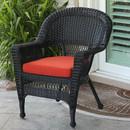 Jeco W00207-C-FS018 Black Wicker Chair with Red Orange Cushion
