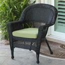 Jeco W00207-C-FS029 Black Wicker Chair with Green Cushion