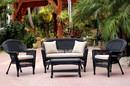 Jeco W00207-G-FS006 4pc Black Wicker Conversation Set - Tan Cushions