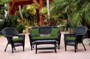 Jeco W00207-G-FS034 4Pc Black Wicker Conversation Set - Hunter Green Cushion