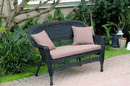 Jeco W00207-L-FS007-CL Black Wicker Patio Love Seat With Brown Cushion And Pillows