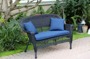 Jeco W00207-L-FS011-CL Black Wicker Patio Love Seat With Midnight Blue Cushion And Pillows