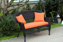 Jeco W00207-L-FS016-CL Black Wicker Patio Love Seat With Orange Cushion And Pillows