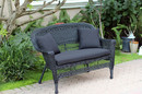 Jeco W00207-L-FS017-CL Black Wicker Patio Love Seat With Black Cushion And Pillows