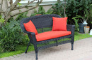Jeco W00207-L-FS018-CL Black Wicker Patio Love Seat With Brick Red Cushion And Pillows
