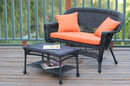 Jeco W00207-LCS016 Black Wicker Patio Love Seat And Coffee Table Set With Orange Cushion