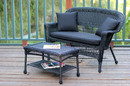 Jeco W00207-LCS017 Black Wicker Patio Love Seat and Coffee Table Set with Black Cushion