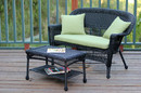 Jeco W00207-LCS029 Black Wicker Patio Love Seat And Coffee Table Set With Green Cushion
