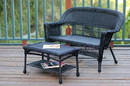 Jeco W00207-LCS Black Wicker Patio Love Seat And Coffee Table Set Without Cushion