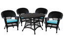 Jeco W00207D-D-G-FS027 5Pc Black Wicker Dining Set - Sky Blue Cushions