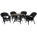 Jeco W00207D-D-G 5pc Black Wicker Dining Set