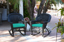Jeco W00207R-D_2-FS032 Black Rocker Wicker Chair With Turquoise Cushion - Set Of 2