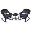 Jeco W00207R-D_2-RCES011 3Pc Black Rocker Wicker Chair Set With Midnight Blue Cushion