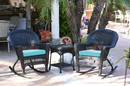 Jeco W00207R-D_2-RCES027 3Pc Black Rocker Wicker Chair Set With Sky Blue Cushion
