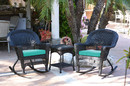 Jeco W00207R-D_2-RCES032 3Pc Black Rocker Wicker Chair Set With Turquoise Cushion