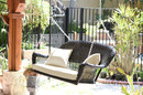 Jeco W00207S-D-FS001 Black Resin Wicker Porch Swing With Ivory Cushion