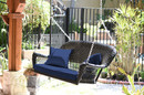 Jeco W00207S-D-FS011 Black Wicker Porch Swing with Blue Cushion