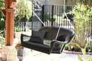 Jeco W00207S-D-FS017 Black Wicker Porch Swing with Black Cushion
